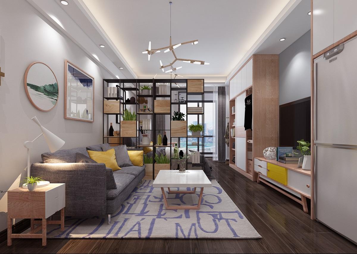 北欧风格室内装修效果图-地王单身公寓55平米