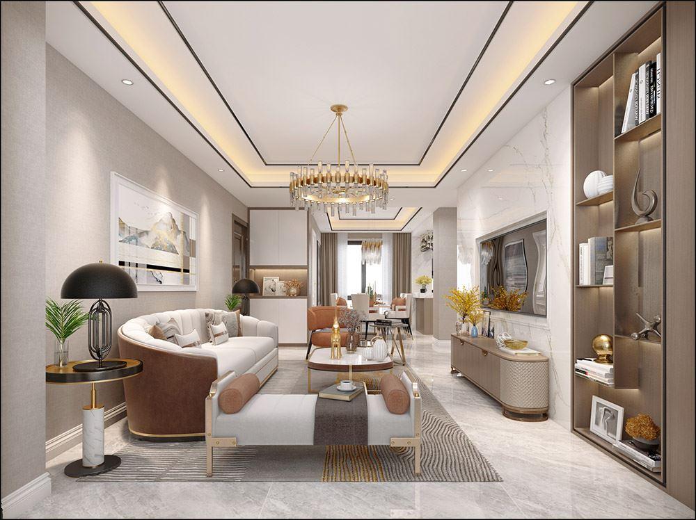 轻奢风格室内装修效果图-响水俊园三居120平米